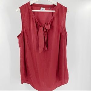 Cabi burgundy red tank top with neck tie